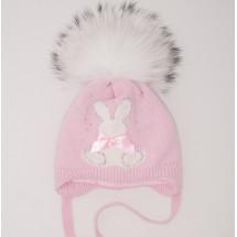 """Шапка зимняя для девочек розовая с белым помпоном """"белый зайка"""""""