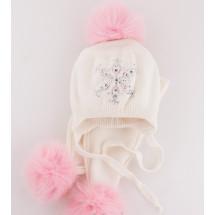 """Комплект кремовый шапка зимняя и шарф с розовыми помпонами """"Снежинка"""""""