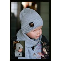 Набор вязаный светло-серый для мальчиков (шапка и шарф)