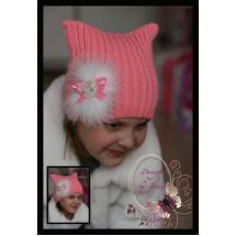 """Шапка с ушками вязаная розового цвета с натуральным мехом """"Hello Kitty"""""""