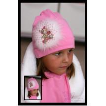 Комплект весенний розовый с натуральным мехом и мишкой (шапка и шарф)