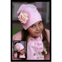 """Шапка для девочек бледно-розового цвета с розой """"Сандра"""""""