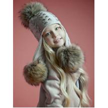 """Шапка серая зимняя с тремя натуральными помпонами """"косы"""""""