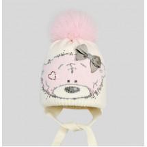 "Шапка белая зимняя на малышку с розовым помпоном ""мишка from me to you"""