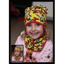 Комплект желтый для девочки (удлиненная шапка и снуд) «Бабочки»