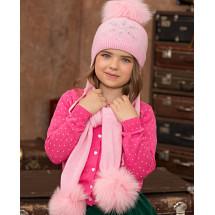 """Комплект розовый шапка зимняя с шарфом с помпонами """"Снежинка"""""""