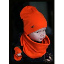 """Комплект оранжевый для мальчика (удлиненная шапка и снуд) """"Армейский герб"""""""
