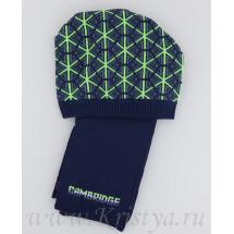 """Комплект демисезонный шапка с шарфом сине-зеленого цвета """"КЕМБРИДЖ"""""""