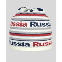 """Шапка демисезонная белая с красной надписью """"Russia"""""""
