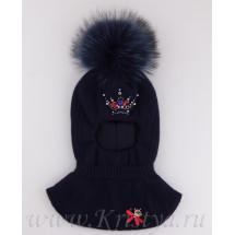 Шапка-шлем для девочек синего цвета с короной Антуанетта