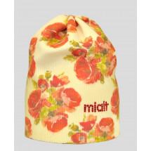 Шапка демисезонная удлиненная кремового цвета для девочек с маками