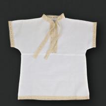 """Рубашка крестильная белого цвета с бежевым кружевом """"Березка"""""""