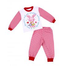 Пижама для девочек с длинным рукавом в красную клетку с зайчиком