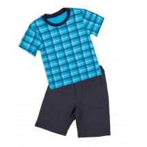 Пижама летняя для мальчиков в бирюзовую клетку