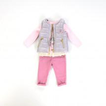 Комплект осенний серо-розовый bebus из трех предметов на девочку