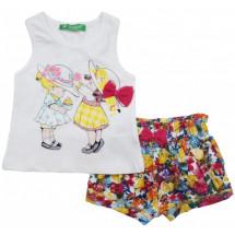 """Комплект на малышку с цветочными шортами """"девочки в шляпках"""""""