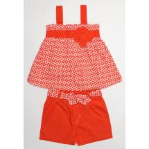 Комплект на девочку летний красного цвета ромбики