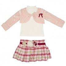 Комплект нарядный светло розовый (юбка, болеро и водолазка)