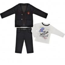 Костюм стильный на мальчика стального цвета (брюки, пиджак и лонгслив)