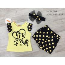Комплект для малышей желтого цвета в горох (шорты, футболка и повязка)