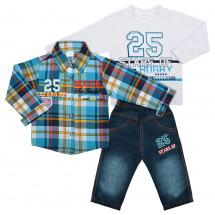 Комплект бирюзовый для мальчиков (рубашка, джинсы и лонгслив)