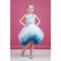 """Платье нарядное голубого цвета с асимметричной многоярусной юбкой """"Gradient"""""""