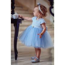 """Платье нарядное голубого цвета с жаккардовым верхом """"Леди"""""""