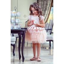 """Платье нарядное цвета пудра с многоярусной юбкой """"Пироженка"""""""