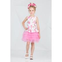 """Платье нарядное с многослойной юбкой розового цвета с розами """"Брайт"""""""