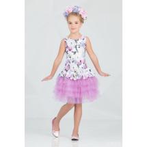 """Платье нарядное с многослойной юбкой лилового цвета """"Брайт"""""""