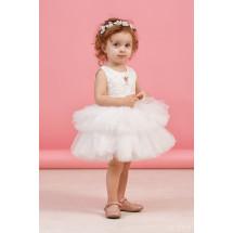 """Платье нарядное белого цвета с многоярусной юбкой """"Кружево"""""""