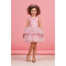 """Платье нарядное розового цвета с многоярусной юбкой """"Кружево"""""""