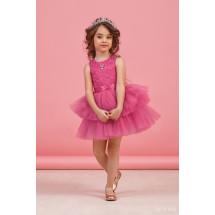 """Платье нарядное малинового цвета с многоярусной юбкой """"Кружево"""""""