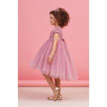 """Платье нарядное цвета сухая роза с пышной асимметричной юбкой """"Поленька"""""""