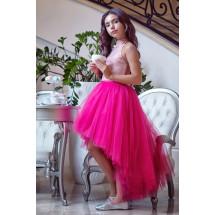 Платье раздельное ярко-розового цвета топ и юбка с хвостом