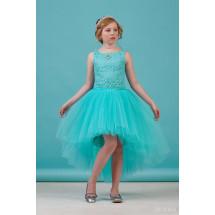 """Платье раздельное бирюзового цвета блузка и юбка с шлейфом """"Кружево"""""""