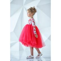 """Платье нарядное с длинным рукавом красного цвета """"Flowers"""""""
