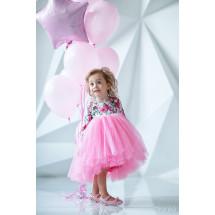 """Платье нарядное с длинным рукавом нежно-розового цвета """"Flowers"""""""