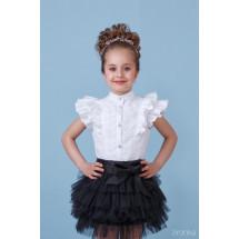"Блузка белого цвета с коротким рукавом и кружевом ""Крылышки"""