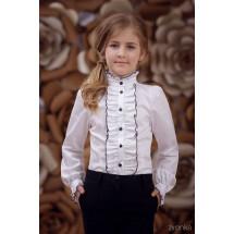 """Блузка белого цвета с рюшем """"Цветочек"""""""