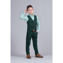 """Костюм для мальчиков зеленого цвета из трех предметов """"Смарт"""""""