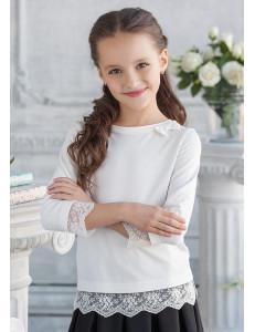 """Блузка трикотажная цвета экрю с кружевным низом """"Вивьен"""""""