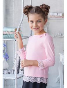 """Блузка трикотажная розового цвета с кружевным низом """"Вивьен"""""""