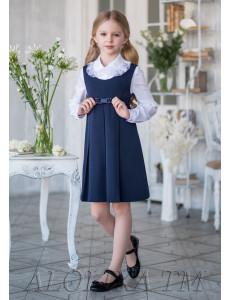 """Сарафан для девочек синего цвета с бантиком """"Лента"""""""