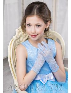 """Перчатки для девочек голубого цвета """"Кружево"""""""
