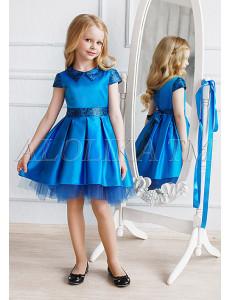 Платье нарядное синее с асимметричным подолом Элизабет