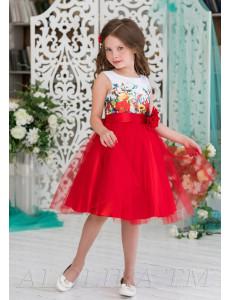 Платье нарядное красного цвета с большим цветком Алолика