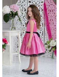 Платье нарядное розовое в черный горох Бабетта