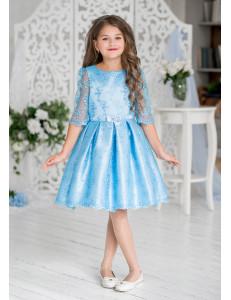 Платье нарядное голубого цвета с рукавом 3/4 Женевьева