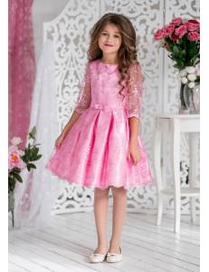 Платье нарядное розового цвета с рукавом 3/4 Женевьева